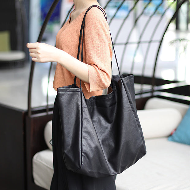 Buykud Large Capacity Solid Color Soft Leather Shoulder Bag