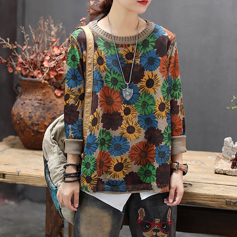 Buykud Casual Retro Floral Printed O-neck Knitted Shirt