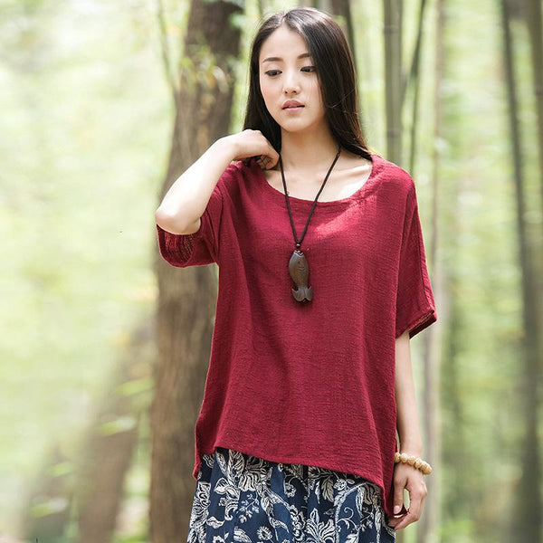 Casual Solid Spliced Loose Women Blouse