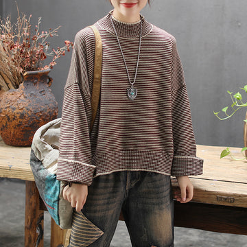 Buykud Half Turtleneck Striped Pullover Casual Sweater