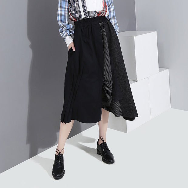 Buykud Irregular Spliced Stripe Patchwork Casual Skirt