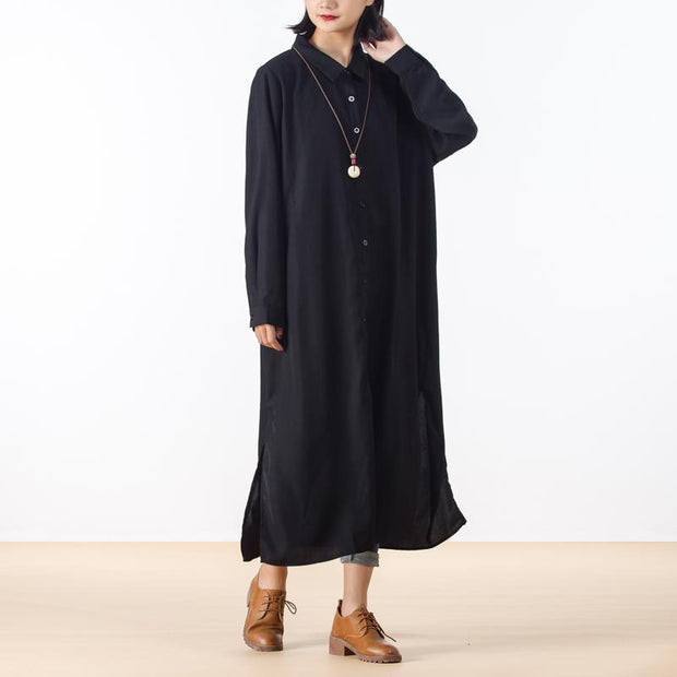 Autumn Long Sleeve Women Slit Shirt Dress
