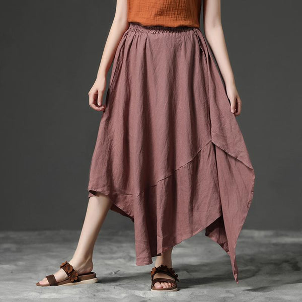 Casual Red Irregular Hem Linen Women Skirt