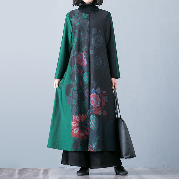 Buykud Floral Print O-Neck Casual Elegant Trench Coat