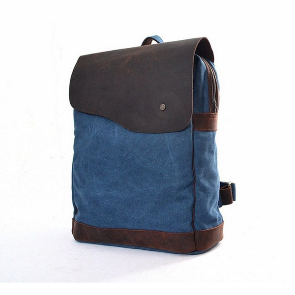 Retro style canvas leather backpack - Buykud