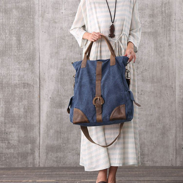 Bag - Women Blue Canvas Leather Shoulder Bag Handbag Messenger Bag Large Capacity Bag Outdoor Travel Bag