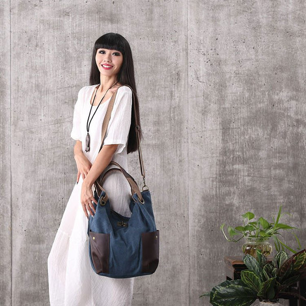 Women blue canvas leather shoulder bag handbag messenger bag large capacity bag shopping bag - Buykud