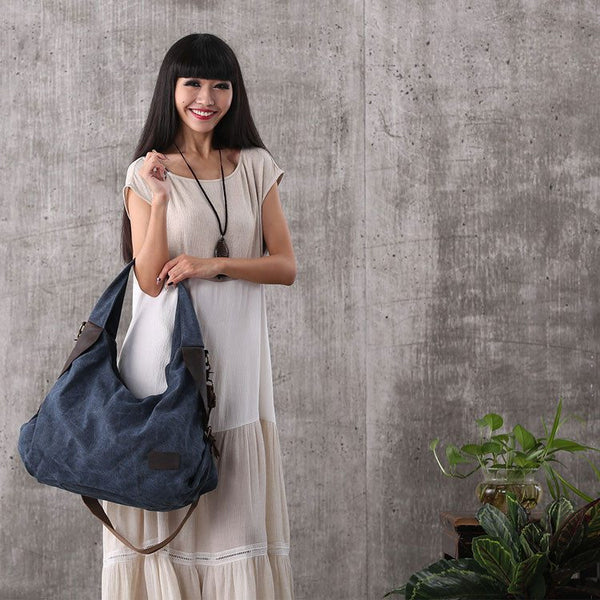 Women canvas leather shopping bag shoulder bag handbag messenger bag large capacity bag - Buykud