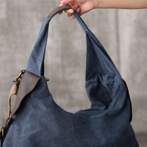 Bag - Women Canvas Leather Shopping Bag Shoulder Bag Handbag Messenger Bag Large Capacity Bag