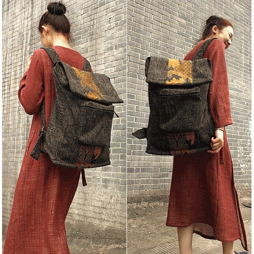 Bag - Women Cotton Linen Backpack