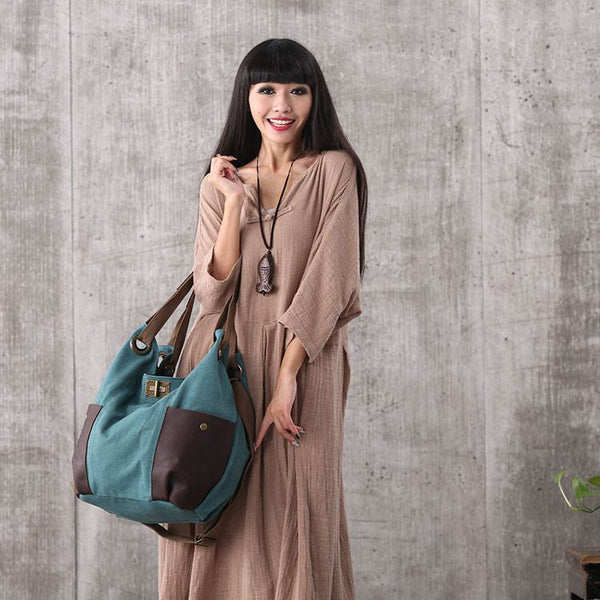 Bag - Women Green Canvas Leather Shoulder Bag Handbag Messenger Bag Large Capacity Bag
