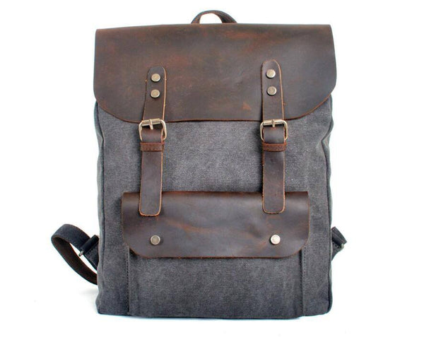 Women  Lights Vintage  canvas leather Backpack - Buykud