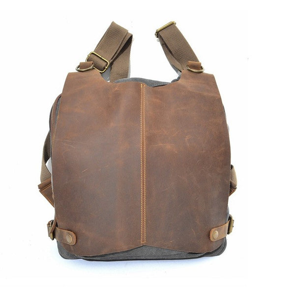 Women's mixed color canvas leather backpacks - Buykud