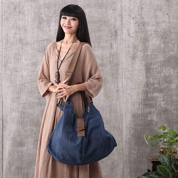 Bag - Women Vintage Canvas Leather Dark Blue Shoulder Bag Handbag Messenger Bag Large Capacity Bag