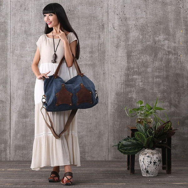 Women vintage canvas leather dark blue shoulder bag handbag messenger bag large capacity bag shopping bag - Buykud