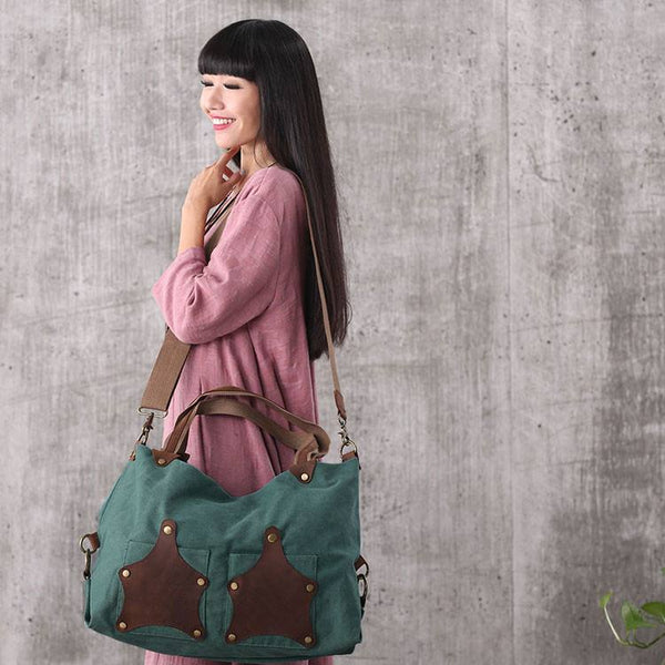 Women vintage canvas leather green shoulder bag handbag messenger bag large capacity bag - Buykud