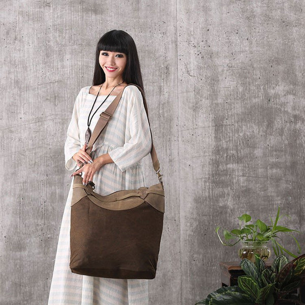 Women vintage canvas leather shoulder bag handbag messenger bag large capacity bag shopping bag - Buykud
