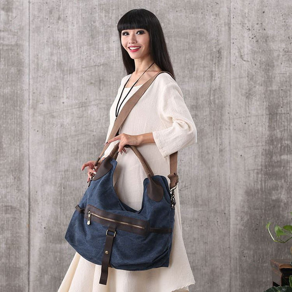 Women vintage canvas leather zipper tote handbags outdoor travel bags shoulder bag - Buykud