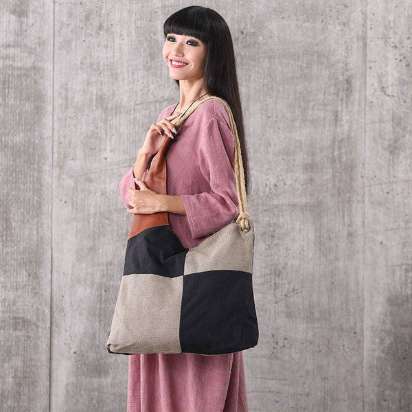 Bag - Women Vintage Canvas Stitching Nylon Leather Rope Shoulder Bag Handbag Shopping Bag