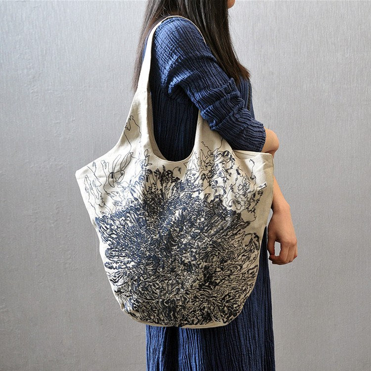 Women vintage cotton linen casual shoulder bag - Buykud