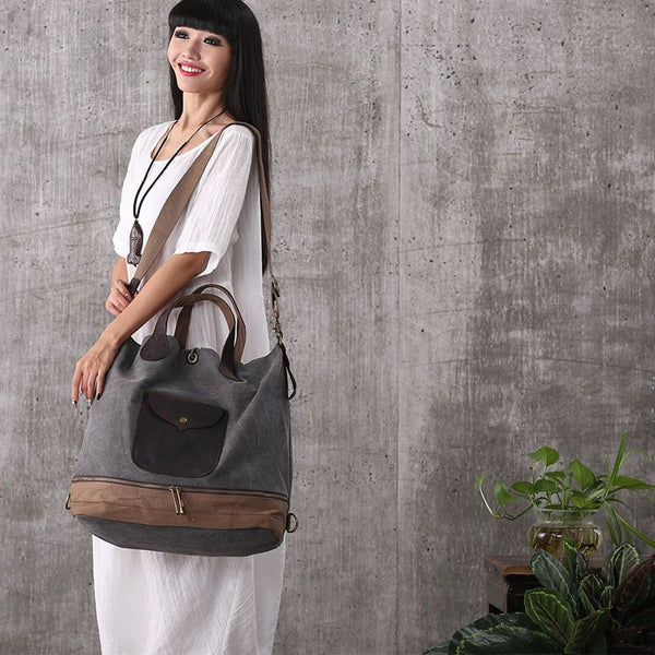Women vintage mixed color canvas stitching leather handbag backpack tote handbag - Buykud