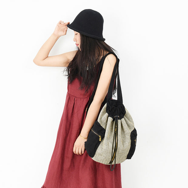 Buykud Drawstring Closed Casual Simple Contrast Color Backpack