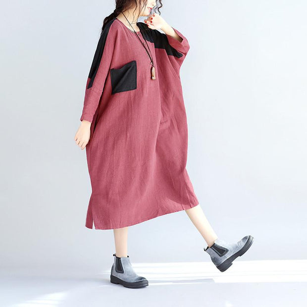 Casual Linen Women Split Spliced Red Dress