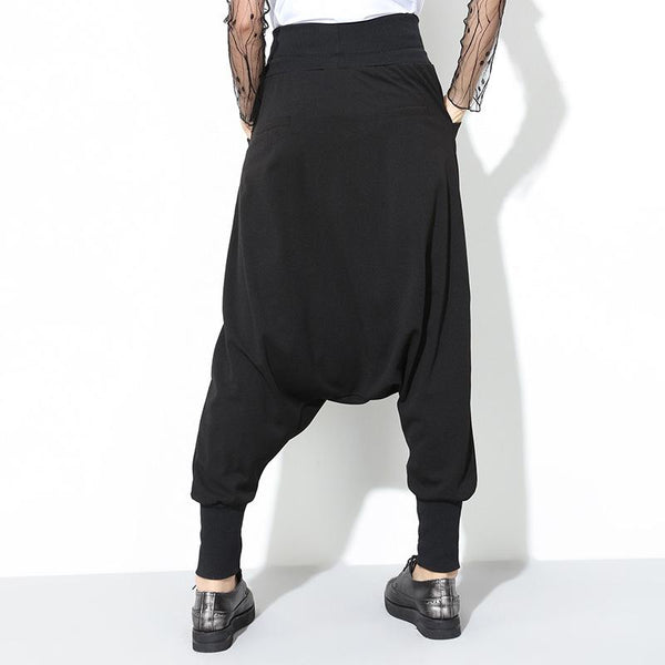 Baggy Deep Crotch Pants With Drawstring