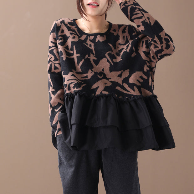 Buykud Agaric Lace Printed Spliced O-neck Blouse