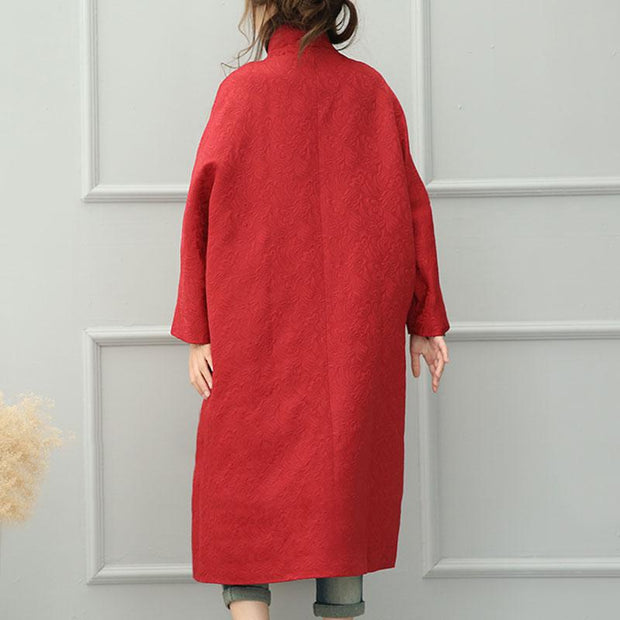 Autumn Winter Loose Single Breasted Red Long Coat