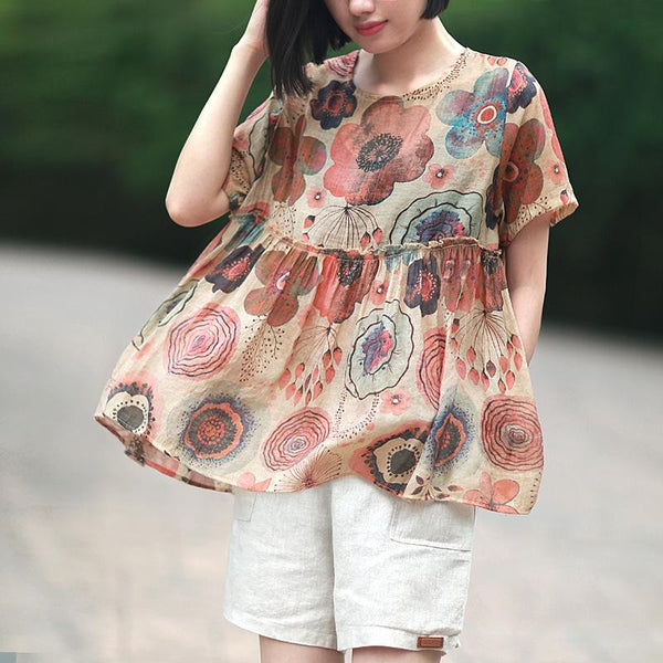 Casual Loose Floral Printed Short Sleeve Top
