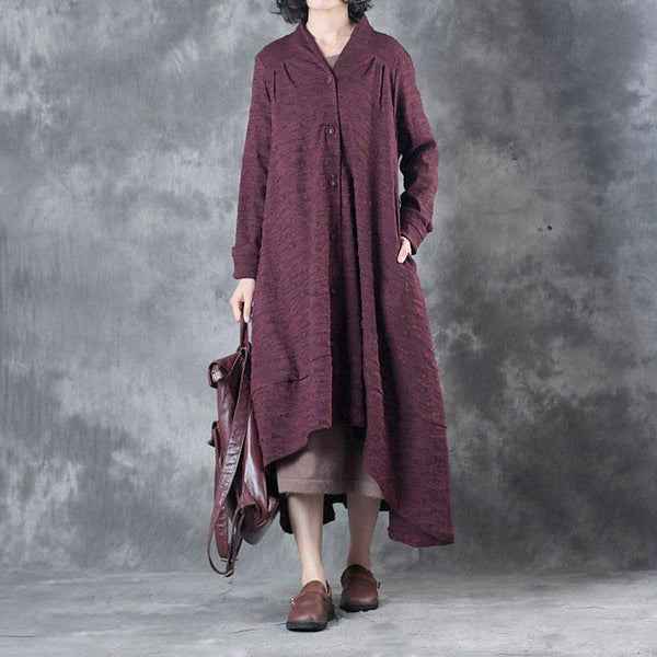 Autumn Irregular Casual Loose Wine Red Dress For Women