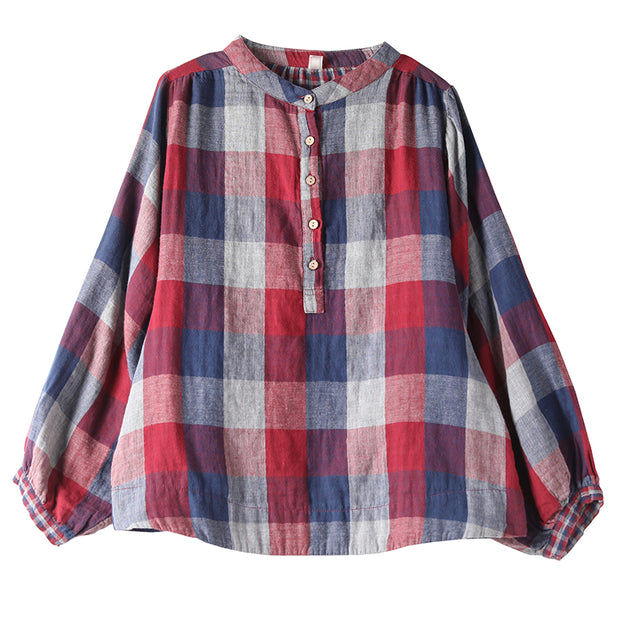 Buykud Stand Collar Colored Plaid Casual Shirt