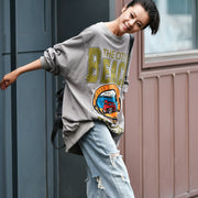 Buykud Letter Pattern Loose Pullover Gray Sweatshirt