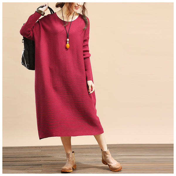 Women plus size loose fitting winter knitting sweater dress - Tkdress  - 3