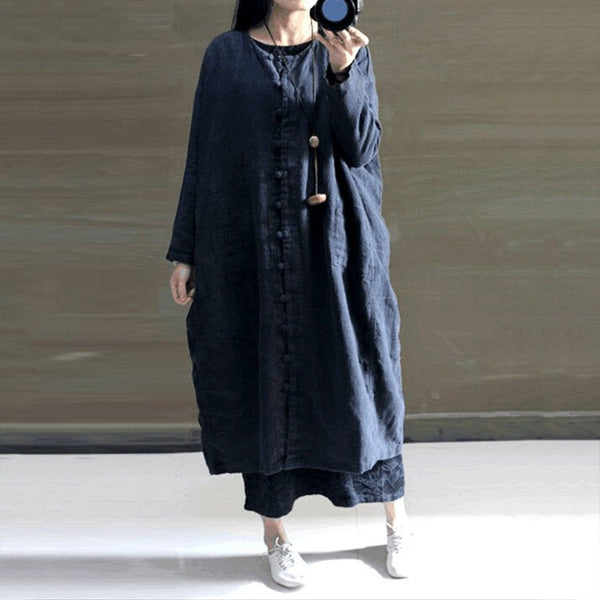 Black Loose Fitting Cotton Linen Coat