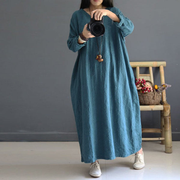 Blue Loose Fitting Cotton Linen Dress