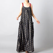 Buykud Retro Stripe Plaid Lacing Loose Black Slip Dress