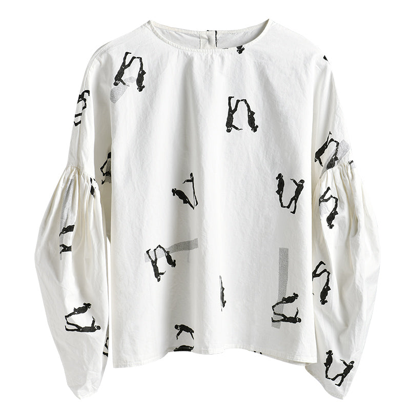Buykud Character Print Lantern Sleeve Casual Blouse