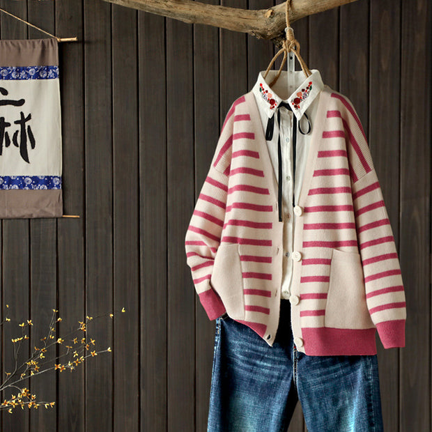 Buykud Casual V-neck Striped Loose Sweater Coat