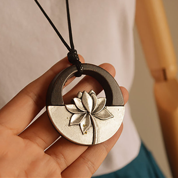 Buykud Simple Alloy Lotus Sweater Chain Long Necklace