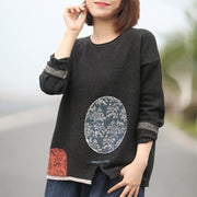 Buykud Retro Casual Pattern Printed Loose Knitted Shirt