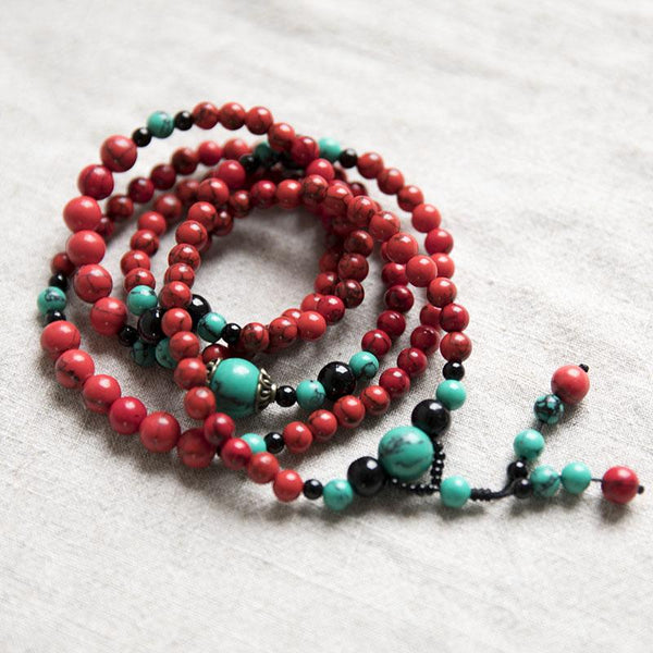 Ethnic Carnelian Bead Vintage Long Chain Lucky Red Women Necklace