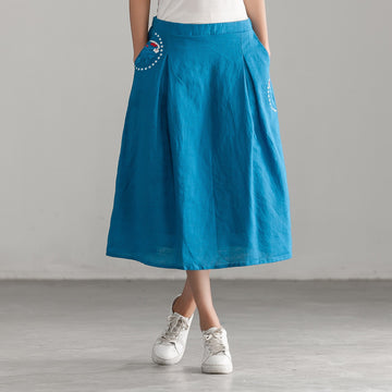 Plus Size - Embroidery Casual Cotton Linen Skirt