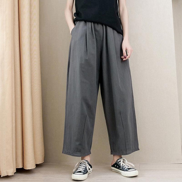 Casual Elastic Waist Loose Wide Leg Pants