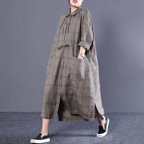 Polo Neck Long Sleeve Plaid Cotton Women Dress
