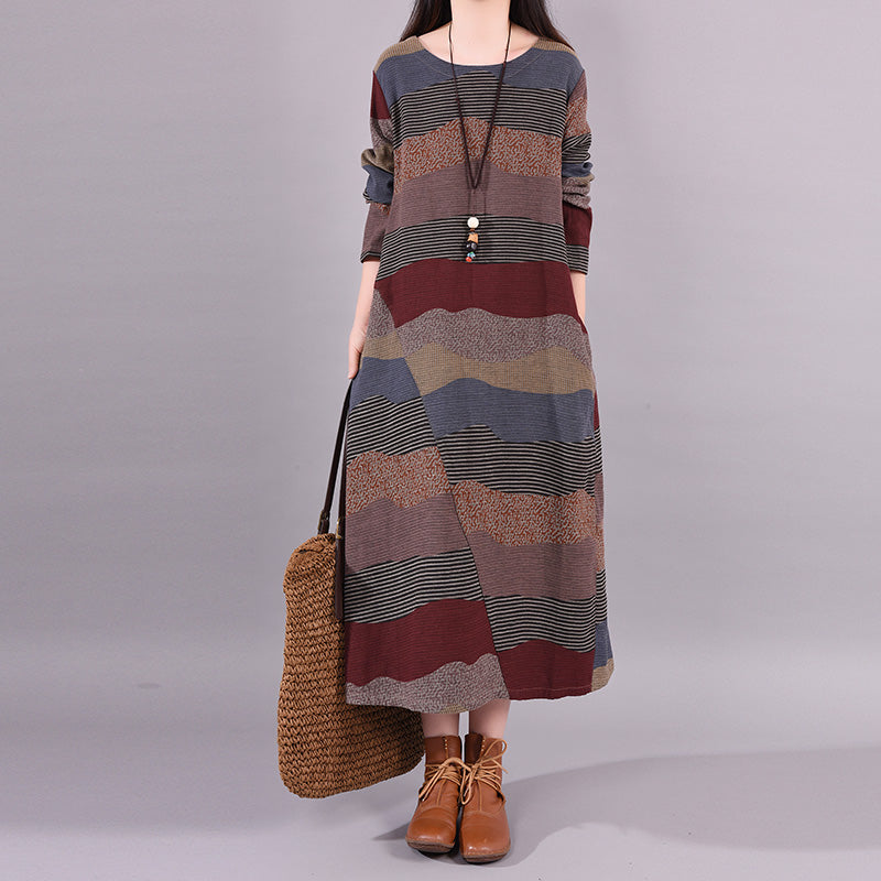 Plus Size - Buykud Wavy Colorful Stripes Retro Linen Dress