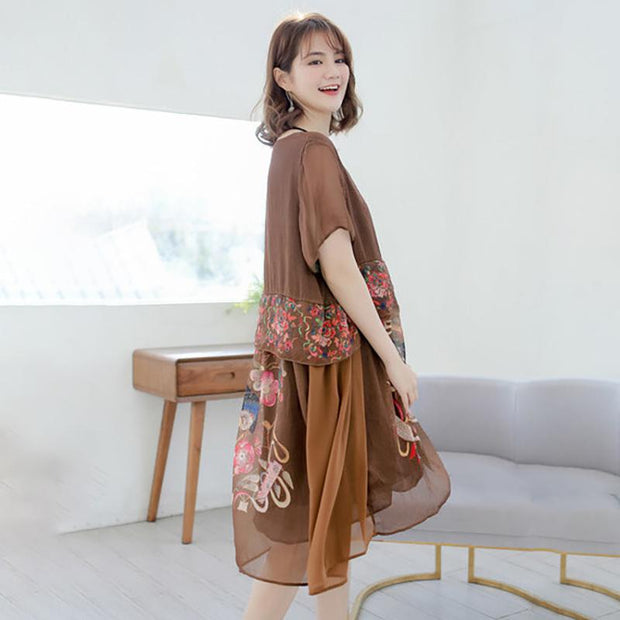 Embroidery Round Neck Print Spliced Loose Dress