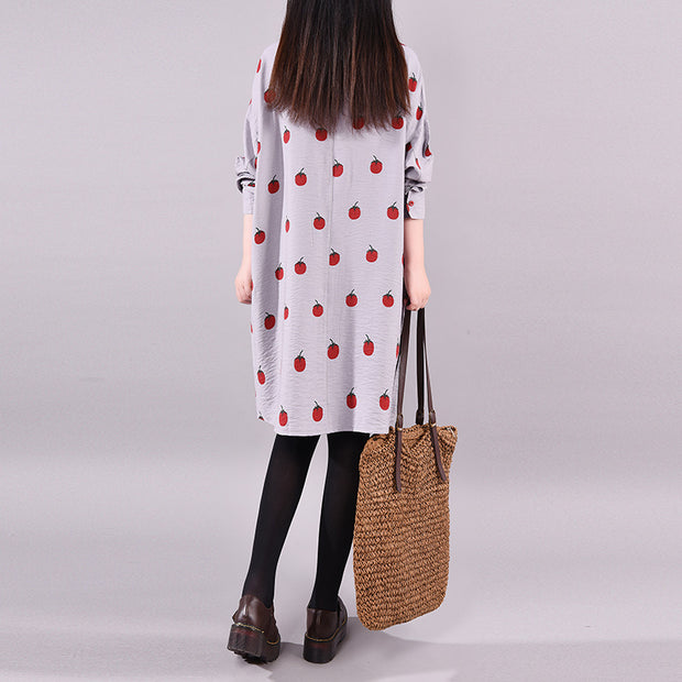 Buykud Tomato Print Casual Polo Collar Shirt Dress