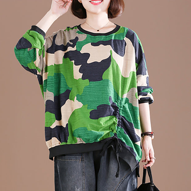 Buykud Camouflage Color Matching Pullover Loose Blouse
